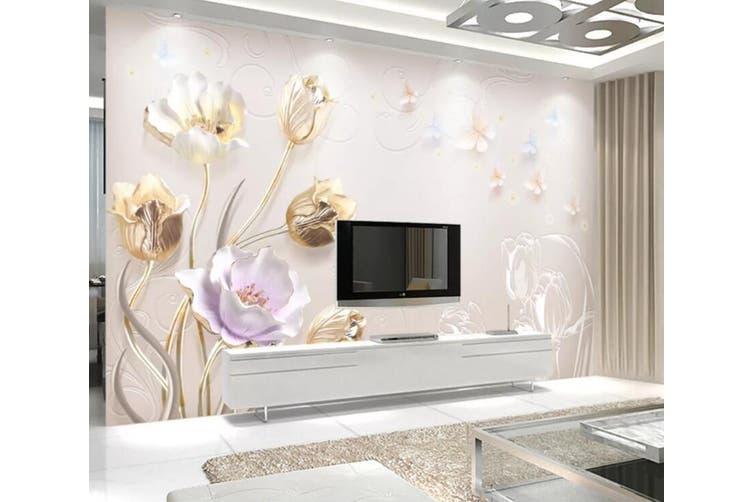 3D Home Wallpaper Colored Flowers 055 ACH Wall Murals Self-adhesive Vinyl, XL 208cm x 146cm (WxH)(82''x58'')