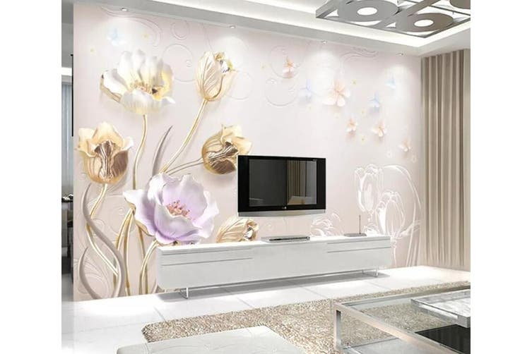 3D Home Wallpaper Colored Flowers 055 ACH Wall Murals Self-adhesive Vinyl, XXL 312cm x 219cm (WxH)(123''x87'')