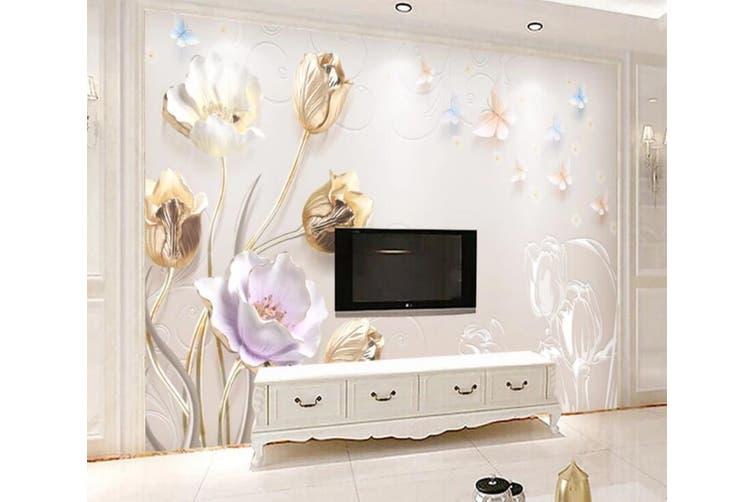 3D Home Wallpaper Colored Flowers 055 ACH Wall Murals Self-adhesive Vinyl, XXXXL 520cm x 290cm (WxH)(205''x114'')