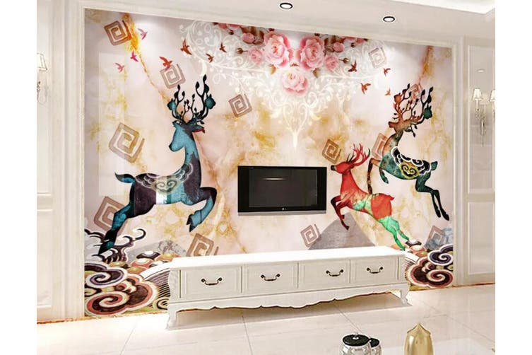 3D Home Wallpaper Colored Fawn 054 ACH Wall Murals Woven paper (need glue), XXL 312cm x 219cm (WxH)(123''x87'')