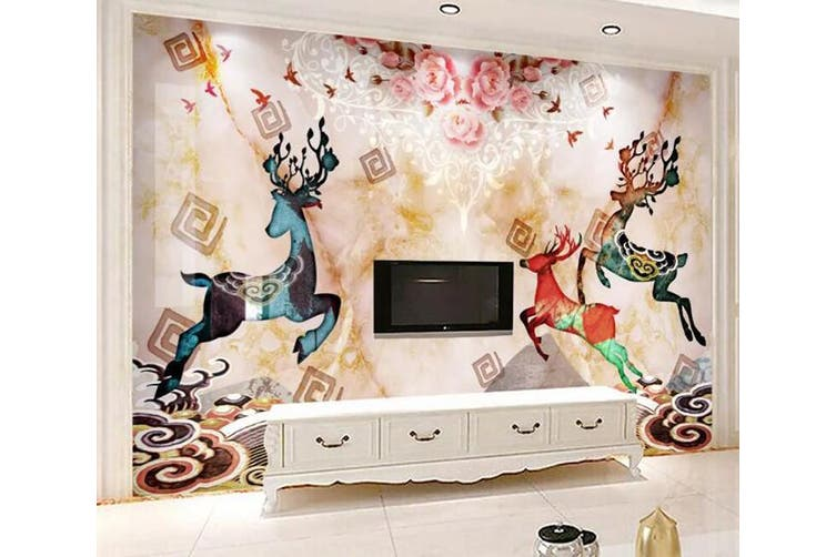 3D Home Wallpaper Colored Fawn 054 ACH Wall Murals Self-adhesive Vinyl, XXL 312cm x 219cm (WxH)(123''x87'')