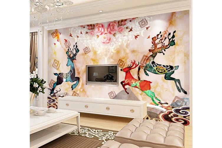 3D Home Wallpaper Colored Fawn 054 ACH Wall Murals Self-adhesive Vinyl, XXXXL 520cm x 290cm (WxH)(205''x114'')