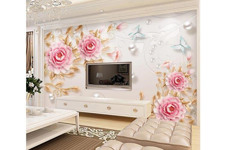 3D Home Wallpaper Pink Flowers 053 ACH Wall Murals Woven paper (need glue), XL 208cm x 146cm (WxH)(82''x58'')