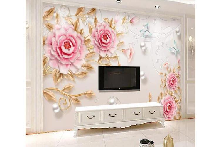 3D Home Wallpaper Pink Flowers 053 ACH Wall Murals Self-adhesive Vinyl, XXL 312cm x 219cm (WxH)(123''x87'')