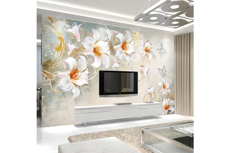 3D Home Wallpaper White Flowers 052 ACH Wall Murals Woven paper (need glue), XL 208cm x 146cm (WxH)(82''x58'')