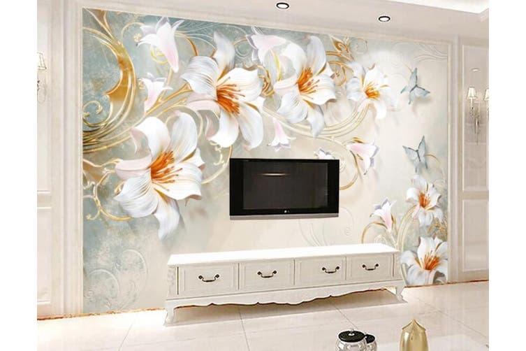 3D Home Wallpaper White Flowers 052 ACH Wall Murals Self-adhesive Vinyl, XXL 312cm x 219cm (WxH)(123''x87'')