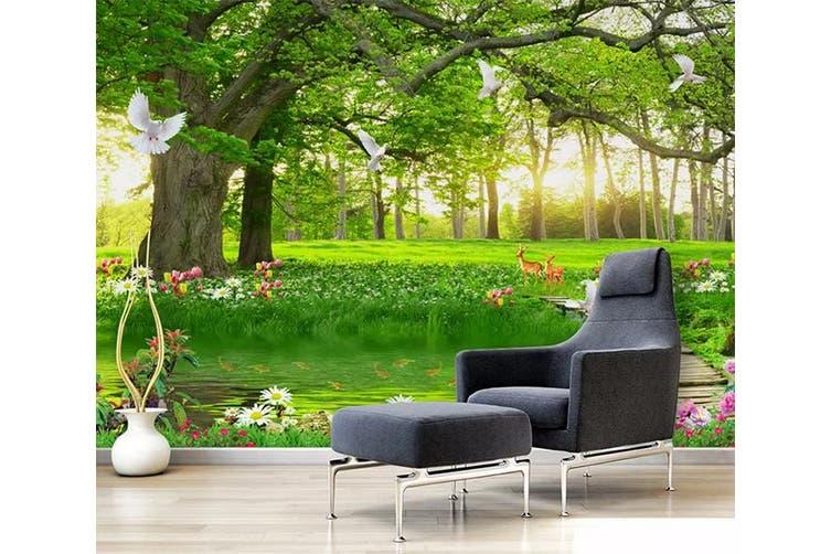 3D Home Wallpaper Forest Green 050 ACH Wall Murals Woven paper (need glue), XXL 312cm x 219cm (WxH)(123''x87'')