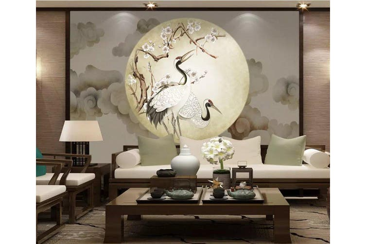 3D Home Wallpaper Red-crowned Crane Y8 ACH Wall Murals Self-adhesive Vinyl, XXXL 416cm x 254cm (WxH)(164''x100'')