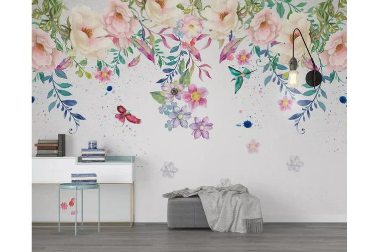 3D Home Wallpaper Colored Flowers Y6 ACH Wall Murals Woven paper (need glue), XXL 312cm x 219cm (WxH)(123''x87'')
