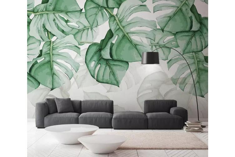 3D Home Wallpaper Green Leaves Y5 ACH Wall Murals Woven paper (need glue), XXL 312cm x 219cm (WxH)(123''x87'')