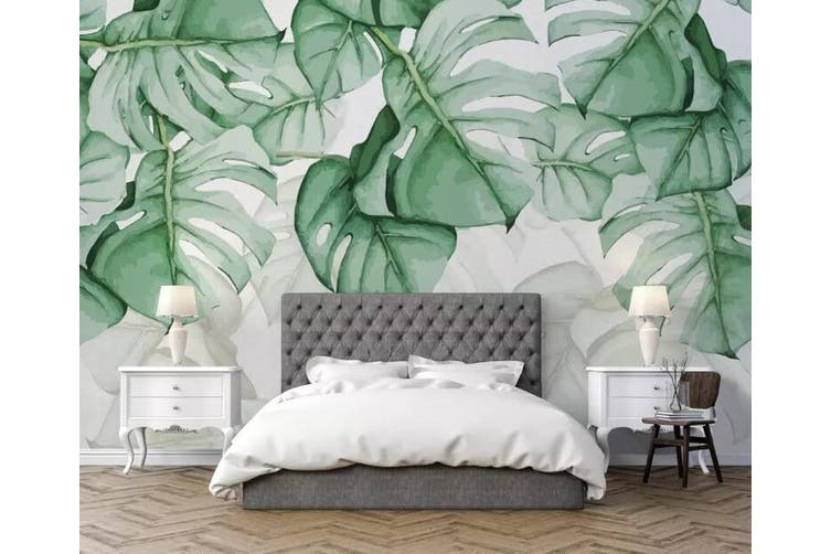 3D Home Wallpaper Green Leaves Y5 ACH Wall Murals Self-adhesive Vinyl, XXXXL 520cm x 290cm (WxH)(205''x114'')
