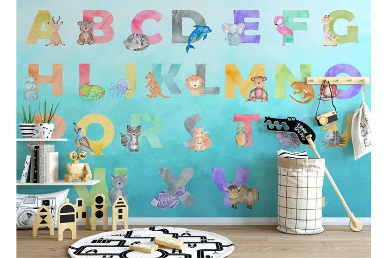 3D Home Wallpaper Colored Letters Y4 ACH Wall Murals Self-adhesive Vinyl, XXL 312cm x 219cm (WxH)(123''x87'')