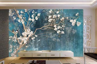 3D Home Wallpaper Birds And Flowers Y3 ACH Wall Murals Woven paper (need glue), XL 208cm x 146cm (WxH)(82''x58'')