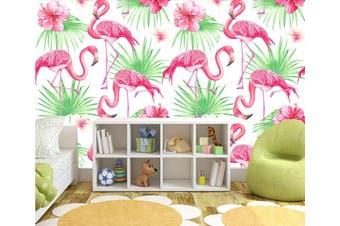 3D Home Wallpaper Pink Flamingo W8 ACH Wall Murals Woven paper (need glue), XXL 312cm x 219cm (WxH)(123''x87'')