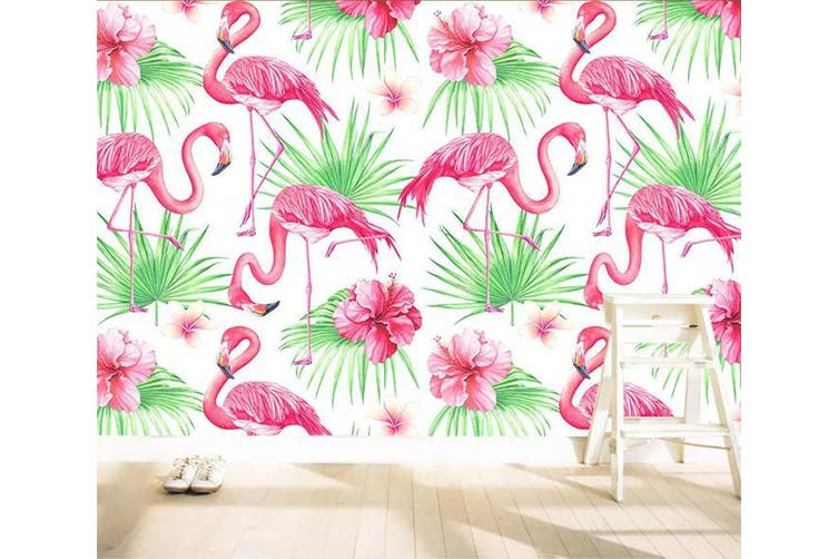 3D Home Wallpaper Pink Flamingo W8 ACH Wall Murals Self-adhesive Vinyl, XXL 312cm x 219cm (WxH)(123''x87'')