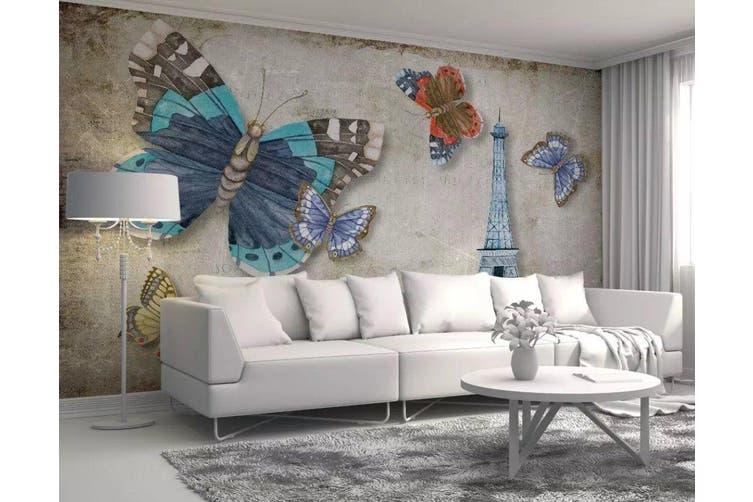 3D Home Wallpaper Butterfly Tower W7 ACH Wall Murals Woven paper (need glue), XXXL 416cm x 254cm (WxH)(164''x100'')