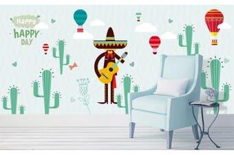 3D Home Wallpaper Hot Air Balloon Cactus W6 ACH Wall Murals Woven paper (need glue), XL 208cm x 146cm (WxH)(82''x58'')