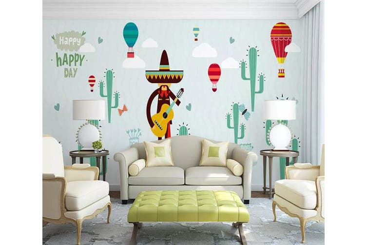 3D Home Wallpaper Hot Air Balloon Cactus W6 ACH Wall Murals Woven paper (need glue), XXXL 416cm x 254cm (WxH)(164''x100'')