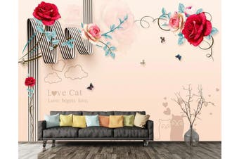 3D Home Wallpaper Red Rose W4 ACH Wall Murals Self-adhesive Vinyl, XL 208cm x 146cm (WxH)(82''x58'')