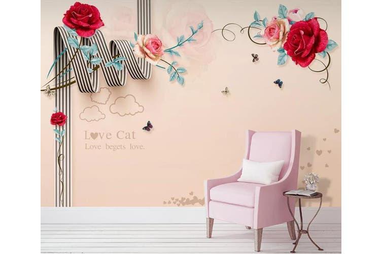 3D Home Wallpaper Red Rose W4 ACH Wall Murals Self-adhesive Vinyl, XXXXL 520cm x 290cm (WxH)(205''x114'')