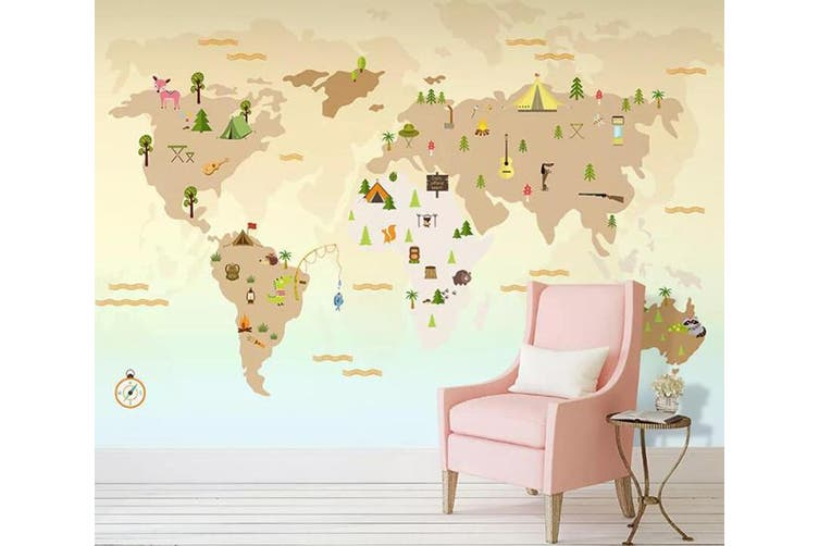 3D Home Wallpaper Color Map W1 ACH Wall Murals Woven paper (need glue), XXL 312cm x 219cm (WxH)(123''x87'')