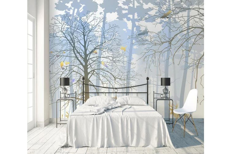 3D Home Wallpaper Foggy Forest W0 ACH Wall Murals Woven paper (need glue), XXL 312cm x 219cm (WxH)(123''x87'')