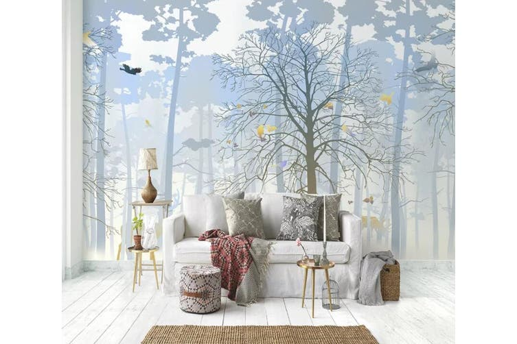 3D Home Wallpaper Foggy Forest W0 ACH Wall Murals Woven paper (need glue), XXXL 416cm x 254cm (WxH)(164''x100'')