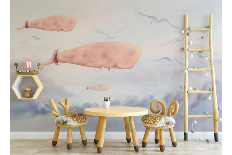 3D Home Wallpaper Pink Whale 027 ACH Wall Murals Woven paper (need glue), XXXL 416cm x 254cm (WxH)(164''x100'')