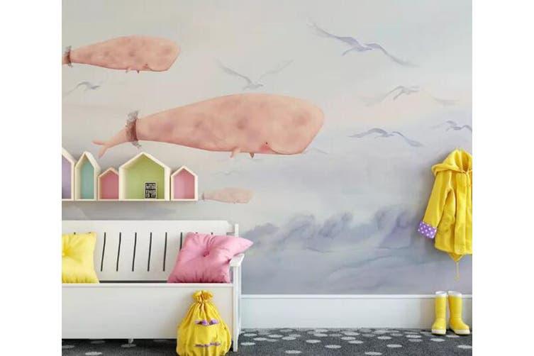 3D Home Wallpaper Pink Whale 027 ACH Wall Murals Self-adhesive Vinyl, XXXL 416cm x 254cm (WxH)(164''x100'')