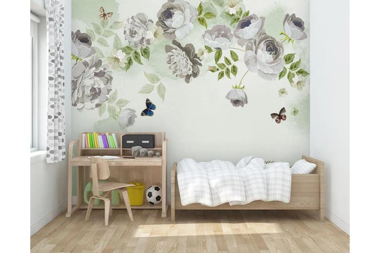 3D Home Wallpaper White Flowers 023 ACH Wall Murals Woven paper (need glue), XXL 312cm x 219cm (WxH)(123''x87'')
