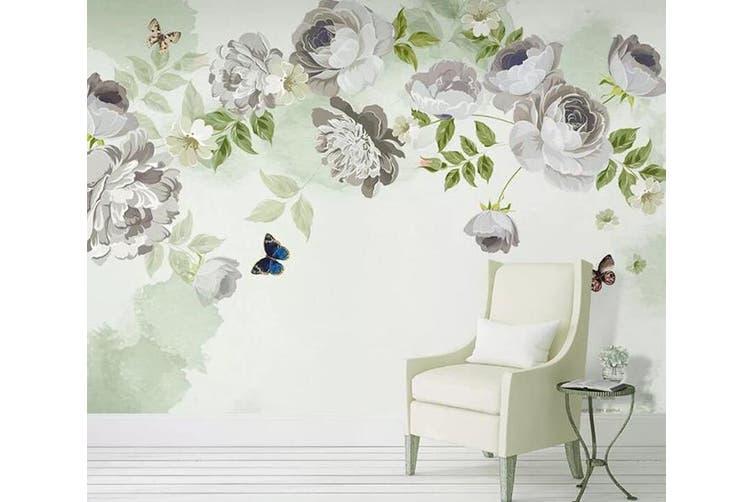 3D Home Wallpaper White Flowers 023 ACH Wall Murals Woven paper (need glue), XXXXL 520cm x 290cm (WxH)(205''x114'')