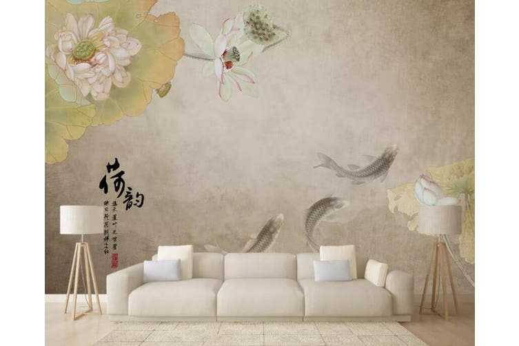 3D Home Wallpaper Goldfish Lotus 022 ACH Wall Murals Woven paper (need glue), XXXL 416cm x 254cm (WxH)(164''x100'')