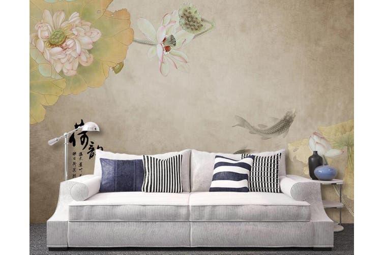 3D Home Wallpaper Goldfish Lotus 022 ACH Wall Murals Self-adhesive Vinyl, XL 208cm x 146cm (WxH)(82''x58'')