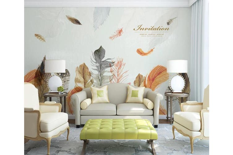 3D Home Wallpaper Colored Feather 021 ACH Wall Murals Self-adhesive Vinyl, XXXXL 520cm x 290cm (WxH)(205''x114'')