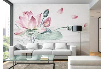 3D Home Wallpaper Lotus 020 ACH Wall Murals Woven paper (need glue), XXL 312cm x 219cm (WxH)(123''x87'')