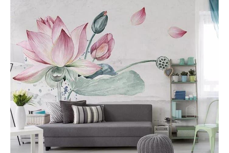 3D Home Wallpaper Lotus 020 ACH Wall Murals Self-adhesive Vinyl, XL 208cm x 146cm (WxH)(82''x58'')