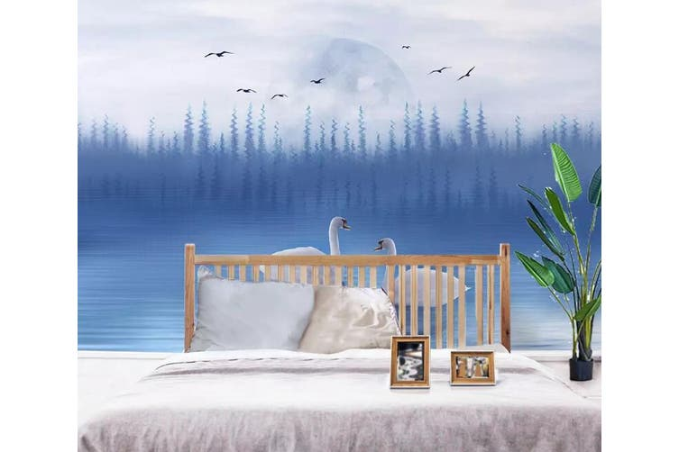 3D Home Wallpaper Swan Lake 019 ACH Wall Murals Woven paper (need glue), XL 208cm x 146cm (WxH)(82''x58'')