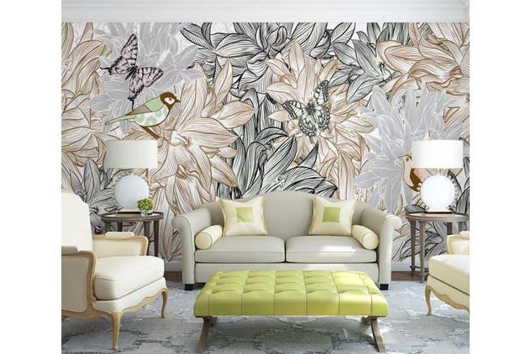 3D Home Wallpaper Flower Butterfly 016 ACH Wall Murals Woven paper (need glue), XXL 312cm x 219cm (WxH)(123''x87'')