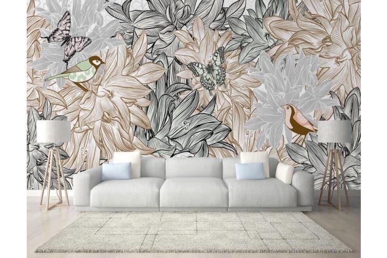 3D Home Wallpaper Flower Butterfly 016 ACH Wall Murals Self-adhesive Vinyl, XXXXL 520cm x 290cm (WxH)(205''x114'')