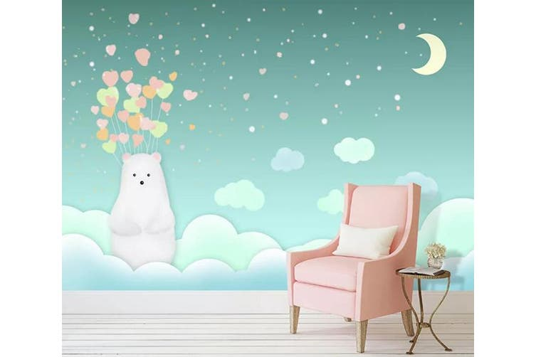 3D Home Wallpaper Bear Moon 015 ACH Wall Murals Woven paper (need glue), XL 208cm x 146cm (WxH)(82''x58'')