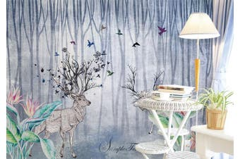 3D Home Wallpaper Elk Woods 014 ACH Wall Murals Woven paper (need glue), XXL 312cm x 219cm (WxH)(123''x87'')