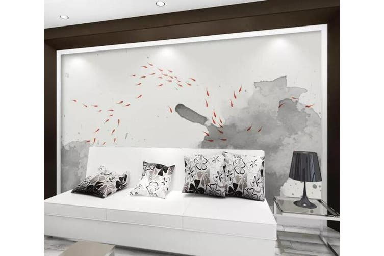 3D Home Wallpaper Goldfish Lotus 0D ACH Wall Murals Self-adhesive Vinyl, XXL 312cm x 219cm (WxH)(123''x87'')