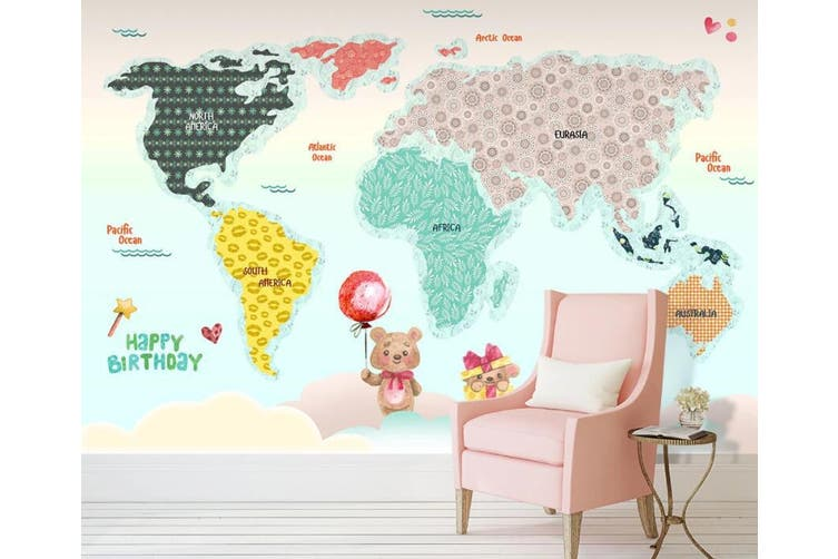 3D Home Wallpaper Color Map 012 ACH Wall Murals Woven paper (need glue), XL 208cm x 146cm (WxH)(82''x58'')