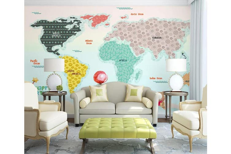 3D Home Wallpaper Color Map 012 ACH Wall Murals Self-adhesive Vinyl, XL 208cm x 146cm (WxH)(82''x58'')