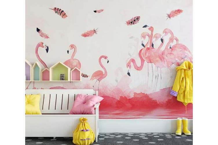 3D Home Wallpaper Pink Flamingo 010 ACH Wall Murals Woven paper (need glue), XXL 312cm x 219cm (WxH)(123''x87'')