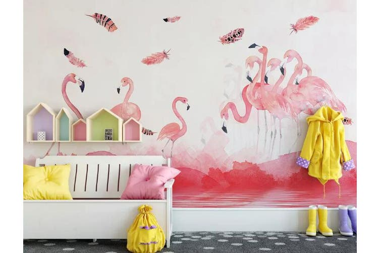 3D Home Wallpaper Pink Flamingo 010 ACH Wall Murals Self-adhesive Vinyl, XXL 312cm x 219cm (WxH)(123''x87'')