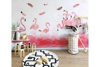 3D Home Wallpaper Pink Flamingo 010 ACH Wall Murals Self-adhesive Vinyl, XXXXL 520cm x 290cm (WxH)(205''x114'')