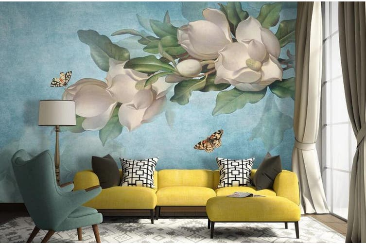 3D Home Wallpaper Flower Butterfly 009 ACH Wall Murals Self-adhesive Vinyl, XL 208cm x 146cm (WxH)(82''x58'')
