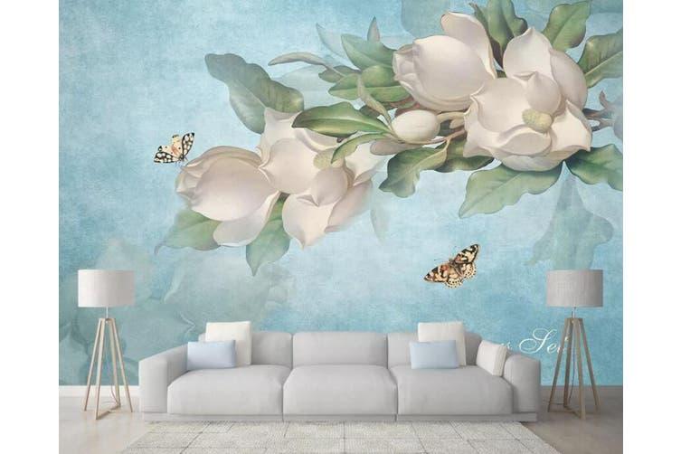 3D Home Wallpaper Flower Butterfly 009 ACH Wall Murals Self-adhesive Vinyl, XXXXL 520cm x 290cm (WxH)(205''x114'')