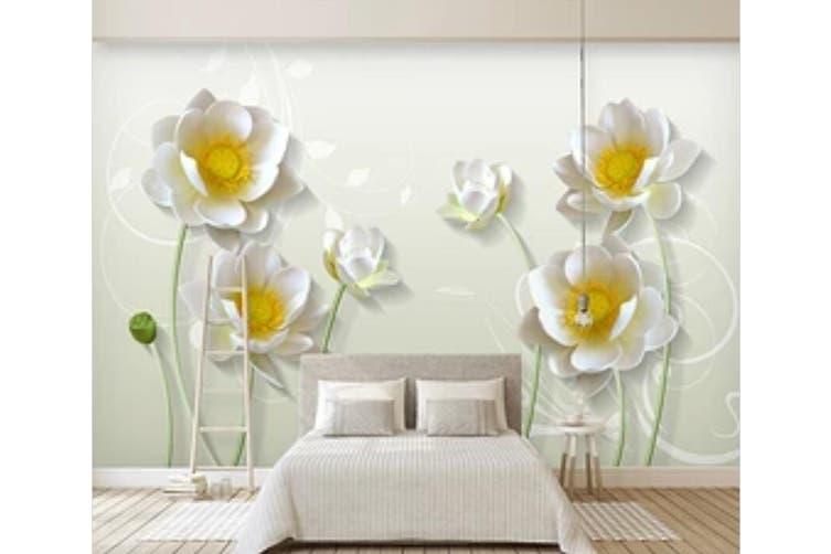 3D Home Wallpaper White Flowers 008 ACH Wall Murals Woven paper (need glue), XXL 312cm x 219cm (WxH)(123''x87'')